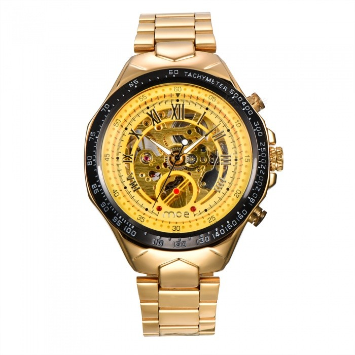 MCE 01-0060275 Mechanical Watch Hollow Out Wristwatch - GoldenMechanical Watches<br>Form  ColorGoldenModel01-0060275Quantity1 DX.PCM.Model.AttributeModel.UnitShade Of ColorGoldCasing MaterialAlloyWristband MaterialSteelSuitable forAdultsGenderUnisexStyleWrist WatchTypeFashion watchesDisplayAnalogBacklightnoMovementMechanicalDisplay Format12 hour formatWater ResistantFor daily wear. Suitable for everyday use. Wearable while water is being splashed but not under any pressure.Dial Diameter4.4 DX.PCM.Model.AttributeModel.UnitDial Thickness1.4 DX.PCM.Model.AttributeModel.UnitWristband Length16 DX.PCM.Model.AttributeModel.UnitBand Width2 DX.PCM.Model.AttributeModel.UnitBatterynoPacking List1 x Watch1 x Box<br>