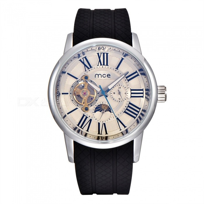MCE Mens Silicone Automatic Tourbillon Mchanical Watch - Silver WhiteMechanical Watches<br>Form  ColorSilver WhiteModel01-0060434Quantity1 DX.PCM.Model.AttributeModel.UnitShade Of ColorSilverCasing MaterialAlloyWristband MaterialSiliconeSuitable forAdultsGenderUnisexStyleWrist WatchTypeFashion watchesDisplayAnalogBacklightnoMovementMechanicalDisplay Format12 hour formatWater ResistantFor daily wear. Suitable for everyday use. Wearable while water is being splashed but not under any pressure.Dial Diameter4.5 DX.PCM.Model.AttributeModel.UnitDial Thickness1.5 DX.PCM.Model.AttributeModel.UnitWristband Length23 DX.PCM.Model.AttributeModel.UnitBand Width2.4 DX.PCM.Model.AttributeModel.UnitBatterynoPacking List1 x Watch1 x Box<br>