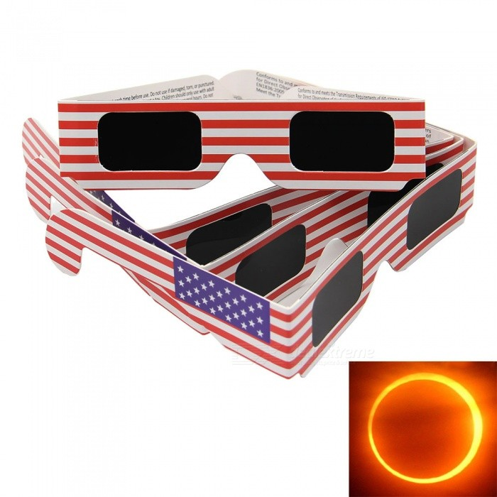 Geekworm American Flag Pattern 3D Solar Eclipse Glasses - Red (4 PCS)Sunglasses<br>Frame ColorRed (4 PCS)Lens ColorBlackQuantity4 DX.PCM.Model.AttributeModel.UnitShade Of ColorBlackFrame MaterialPaperLens MaterialSafe Solar FilmProtection5GenderUnisexSuitable forOthers,&gt; 3 years oldFrame Height3.5 DX.PCM.Model.AttributeModel.UnitLens Width4.1 DX.PCM.Model.AttributeModel.UnitBridge Width2.5 DX.PCM.Model.AttributeModel.UnitOverall Width of Frame13 DX.PCM.Model.AttributeModel.UnitPacking List4 x Solar Eclipse Glasses<br>
