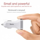 HOCO 3.1A Car Charger with Digital Display, Dual USB Port - White
