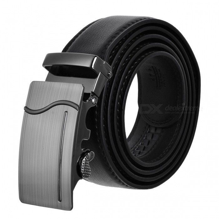 Men's Automatic Buckle Leather Belt - Black (120cm)
