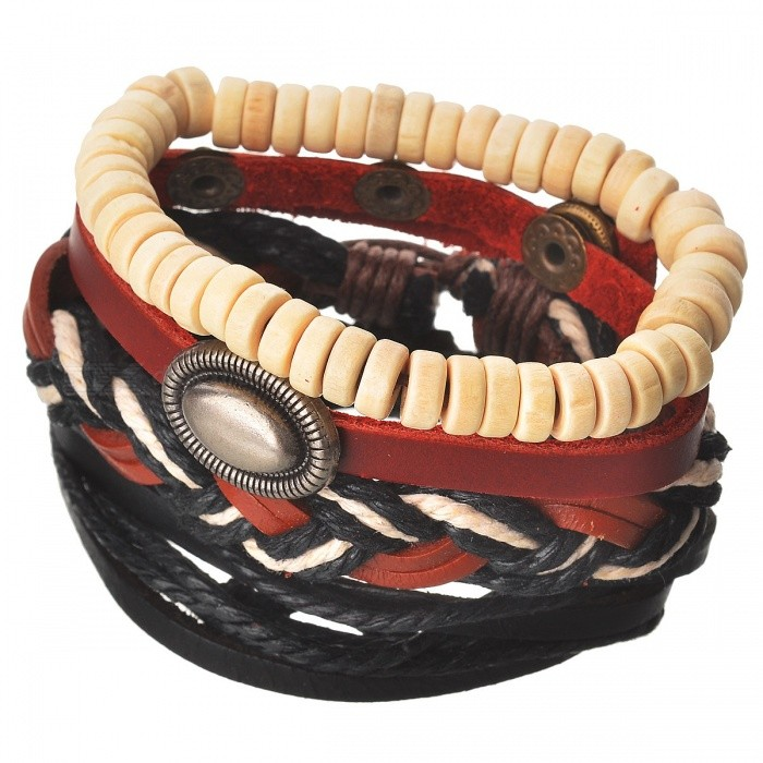 Buy Multi-Layer Retro Style Leather Bracelet for Men, Women - Brown with Litecoins with Free Shipping on Gipsybee.com