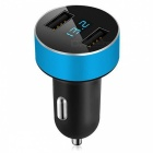 Dual USB 5V Dynamic 3.1A-0.4A Intelligent Car Charger - Blue