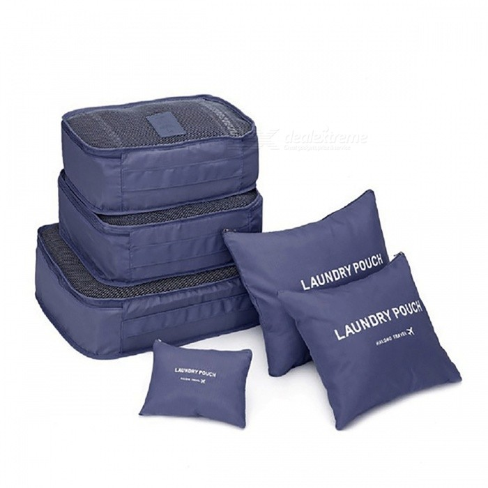 Buy 6Pcs / Set Travel Home Luggage Storage Bag - Dark Blue with Litecoins with Free Shipping on Gipsybee.com