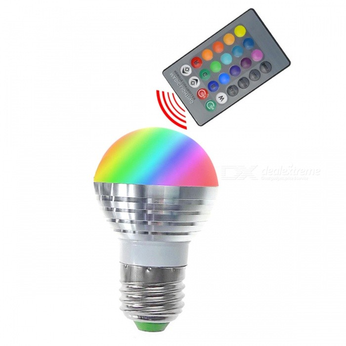 E27 3W RGB Lamp LED Bulbs / IR Remote Controller -White + SilverColor BINRGBMaterialAluminum alloy + PCForm  ColorWhite + SilverQuantity1 DX.PCM.Model.AttributeModel.UnitPower3WRated VoltageAC 85-265 DX.PCM.Model.AttributeModel.UnitConnector TypeE27Chip BrandEpistarEmitter TypeLEDTotal Emitters1Theoretical Lumens50 DX.PCM.Model.AttributeModel.UnitActual Lumens40 DX.PCM.Model.AttributeModel.UnitColor Temperature12000K,Others,N/ADimmableYesBeam Angle360 DX.PCM.Model.AttributeModel.UnitWavelengthR:630nm, G:525nm, B:460nmCertificationCE,FCC,RoHS,CCCPacking List1 * 3W LED light bulb1 * IR remote controller<br>