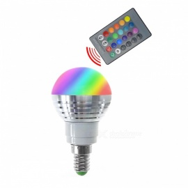 E14/E27  3W RGB Lamp LED Bulbs / IR Remote Controller - White + Silver