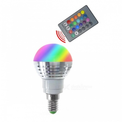 E14 3W RGB Lamp LED Bulbs / IR Remote Controller - White + Silver