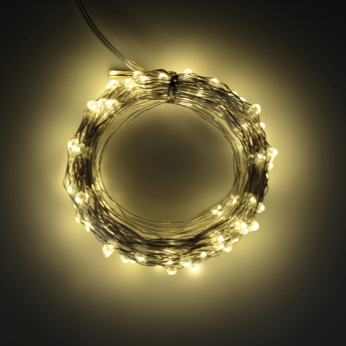 5W 33Ft 10M 100-LED Battery Operated String Light - Warm White Light