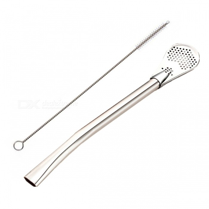 Creative Stainless Steel Straw Strainer Spoon Teaspoon - Silver (2PCS)Kitchen Gadgets<br>Form  ColorEcru SilverModelA0001MaterialStainless steelQuantity2 DX.PCM.Model.AttributeModel.UnitUsing MethodDrinking Straws<br>Mixing<br>FiltratePacking List2 x Spoons2 x Cleaning brushes<br>