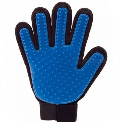P-TOP Pet Dog Massage Hair Removal Cleaning Brush Glove - Blue