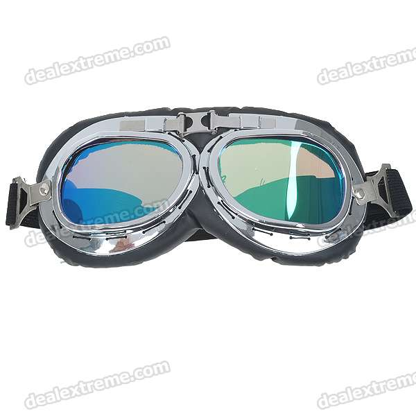 Vintage Folding Colored Lenses Motorcycle Goggles Glasses with Elastic Strap