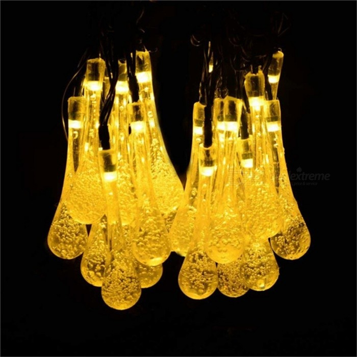 Water Droplets Style Warm White Light Solar Fairy String Light (6m)