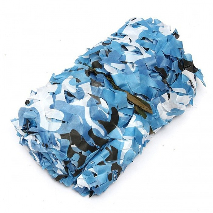 4mx2m Hunting Military Camouflage Net Camping Sun Shelter - BlueForm  ColorBlueMaterialOxford polyester clothQuantity1 piecePacking List1 x 4*2m Camouflage net<br>