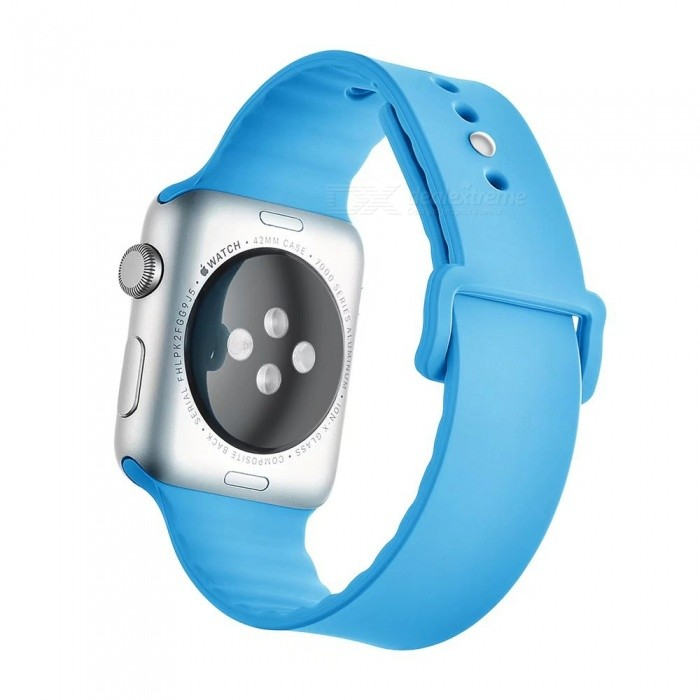 Miimall Soft Silicone Watch Strap for Apple Watch 42mm - BlueWearable Device Accessories<br>Form  ColorBlueQuantity1 DX.PCM.Model.AttributeModel.UnitMaterialSoft SiliconePacking List1 x Soft Silicone Strap for iWatch 42mm<br>