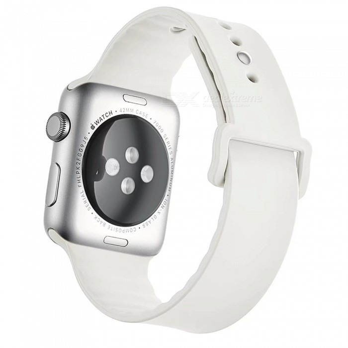 Miimall Soft Silicone Watch Strap for Apple Watch 42mm - WhiteWearable Device Accessories<br>Form  ColorWhiteQuantity1 DX.PCM.Model.AttributeModel.UnitMaterialSoft SiliconePacking List1 x Soft Silicone Strap for iWatch 42mm<br>