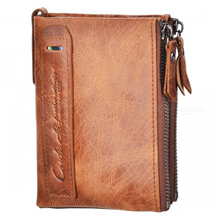 JIN BAO Folded Mens Leather Wallet with Coin Pocket - CoffeeWallets and Purses<br>Form  ColorCoffeeModel302#Quantity1 pieceShade Of ColorBrownMaterialLeatherGenderMenSuitable forAdultsOpeningZipperStyleFashionWallet Dimensions12*9.5*2.5Other Features1 fold 2 card slots, 1 cash pockets, 1 zipper pockets, 3 dark cellsPacking List1 x Wallet<br>