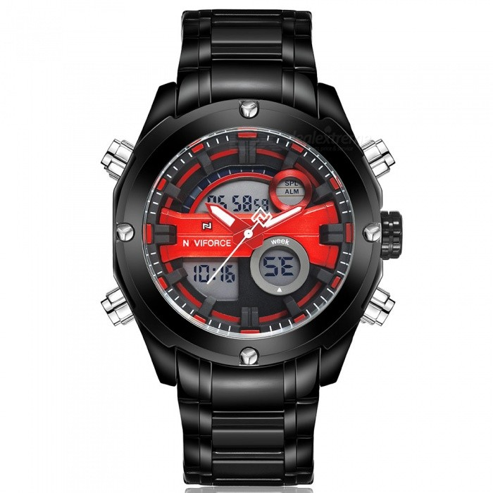 NaviForce 9088 Mens Sports Metal Wrist Quartz Watch - Black, RedSport Watches<br>Form  ColorBlack + Red (Without Gift Box)ModelNF9088Quantity1 DX.PCM.Model.AttributeModel.UnitShade Of ColorBlackCasing MaterialStainless SteelWristband MaterialStainless SteelSuitable forAdultsGenderMenStyleWrist WatchTypeSports watchesDisplayAnalog + DigitalMovementQuartzDisplay Format12/24 hour time formatWater ResistantWater Resistant 3 ATM or 30 m. Suitable for everyday use. Splash/rain resistant. Not suitable for showering, bathing, swimming, snorkelling, water related work and fishing.Dial Diameter4.5 DX.PCM.Model.AttributeModel.UnitDial Thickness1.7 DX.PCM.Model.AttributeModel.UnitWristband Length24 DX.PCM.Model.AttributeModel.UnitBand Width2.4 DX.PCM.Model.AttributeModel.UnitBattery1 x Button batteryPacking List1 x Watch<br>