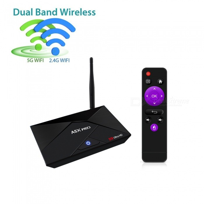A5X PRO Android 7.1 TV Box 16GB RK3328 Quad-Core Smart Player /US PlugSmart TV Players<br>Form  ColorBlackBuilt-in Memory / RAM2GBStorage16GBPower AdapterUS PlugQuantity1 DX.PCM.Model.AttributeModel.UnitMaterialABSShade Of ColorBlackOperating SystemOthers,Android 7.1ChipsetRK3328 Quad-Core 64bit Cortex-A53CPUOthers,Cortex-A53Processor Frequency750Mhz+GPUPenta-Core Mali-450 Up to 750Mhz+Menu LanguageEnglishMax Extended Capacity32GBSupports Card TypeMicroSD (TF)Wi-Fi802.11a/b/g/n/ac,  2.4G/5GBluetooth VersionBluetooth V4.03G FunctionYesWireless Keyboard/Mouse2.4GAudio FormatsOthers,MP3 / WMA / AAC / WAV / OGG / DDP / HD / FLAC / APEVideo FormatsOthers,Avi / Ts / Vob / Mkv / Mov / ISO / wmv / asf / flv / dat / mpg / mpegAudio CodecsDTS,AC3,FLACVideo CodecsH.264,Others,H.265,VC-1MPEG-1/2/4VP6 / 8Picture FormatsOthers,HD JPEG / BMP / GIF / PNG / TIFFSubtitle FormatsOthers,SRT / SMI / SUB / SSA / IDX + USBOutput Resolution1080PHDMIHDMI 2.0 a(C Type Male) for 4k@60HzPower SupplyDC 5V/2.0APacking List1 x A5X pro Android TV Box1 x HDMI Cable1 x IR Remote Control1 x Power Adapter1 x User Manual<br>