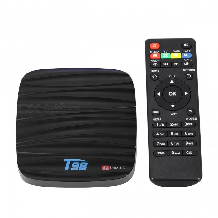 T98 TV Box Android 7.1 Quad-Core 2GB/16GB 4K Media Player - UK PlugSmart TV Players<br>Form  ColorBlackBuilt-in Memory / RAM2GBStorage16GBPower AdapterUK PlugQuantity1 DX.PCM.Model.AttributeModel.UnitMaterialABSShade Of ColorBlackOperating SystemOthers,Android 7.1ChipsetCPU RK3328CPUOthers,Cortex-A53Processor Frequency1.5 GHzMenu LanguageEnglishMax Extended Capacity32GBSupports Card TypeMicroSD (TF)Wi-FiWi-Fi 802.11 b/g/nBluetooth VersionBluetooth V4.03G FunctionYesWireless Keyboard/Mouse2.4GAudio FormatsOthers,MP3 / WMA / AAC / WAV / OGG / DDP / HD / FLAC / APEVideo FormatsOthers,Avi / Ts / Vob / Mkv / Mov / ISO / wmv / asf / flv / dat / mpg / mpegAudio CodecsDTS,AC3,FLACVideo CodecsH.264,Others,H.265,VC-1MPEG-1/2/4VP6 / 8Picture FormatsOthers,HD JPEG / BMP / GIF / PNG / TIFFSubtitle FormatsOthers,SRT / SMI / SUB / SSA / IDX + USBOutput Resolution1080PHDMIHDMI 2.0 a(C Type Male) for 4k@60HzPower SupplyDC 5V/2.0APacking List1 x T98 Android 7.1 EXW Pro TV Box 1 x Power Adapter(5V 2A ) 1 x Remote Controller (Battery is not included) 1 x HDMI Cable 1 x User Manual<br>