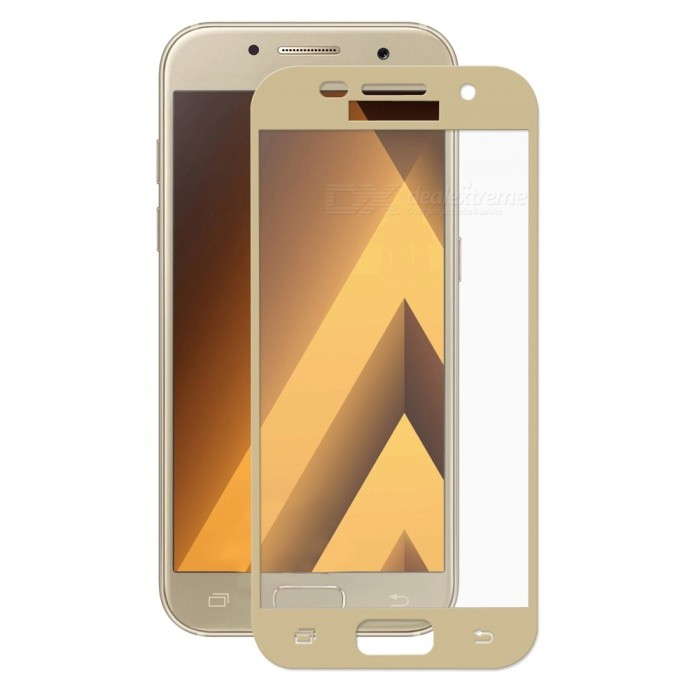 Hat-Prince Full Coverage Tempered Protector for Galaxy A5 2017 -GoldenScreen Protectors<br>Form  ColorGoldenScreen TypeGlossyModel-MaterialTempered GlassQuantity1 DX.PCM.Model.AttributeModel.UnitCompatible ModelsSamsung Glaxy A5 2017Features2.5D,HD,Scratch-proof,Tempered glassPacking List1 x Screen protector1 x Dust Sticker1 x Cleaning Cloth1 x Alcohol Prep Pad<br>