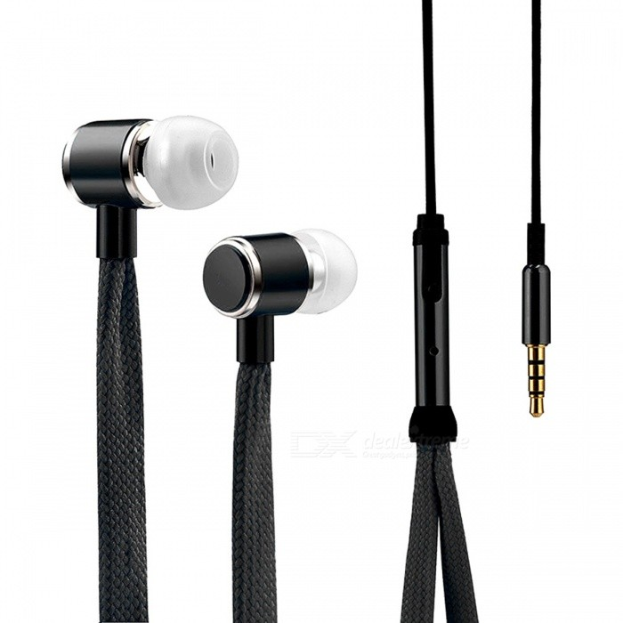 Cool Shoelaces Style Earphone with Micrphone - BlackHeadphones<br>Form  ColorBlackBrandOthers,N/AMaterialPlastic + alloyQuantity1 DX.PCM.Model.AttributeModel.UnitConnection3.5mm WiredBluetooth VersionNoConnects Two Phones SimultaneouslyNoCable Length108 DX.PCM.Model.AttributeModel.UnitLeft &amp; Right Cables TypeEqual LengthHeadphone StyleBilateralWaterproof LevelIPX2Applicable ProductsUniversalHeadphone FeaturesPhone ControlRadio TunerNoSupport Memory CardNoSupport Apt-XYesPacking List1 x High Quality Shoelace Style Earphone<br>