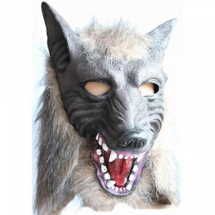 Halloween Simulation Wolf Head Mask - GreyHalloween Gadgets<br>Form  ColorGrey + Brown + Multi-ColoredMaterialEnvironmentally friendly latexQuantity1 DX.PCM.Model.AttributeModel.UnitSuitable holidaysHalloweenPacking List1 x Mask<br>