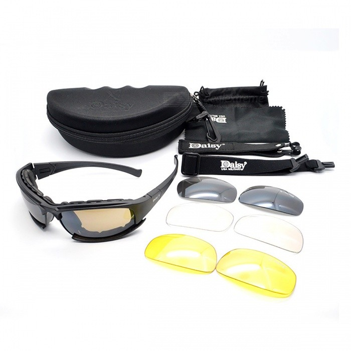 Buy Tactical Military Army Polarized Goggles Sunglasses - Black with Litecoins with Free Shipping on Gipsybee.com