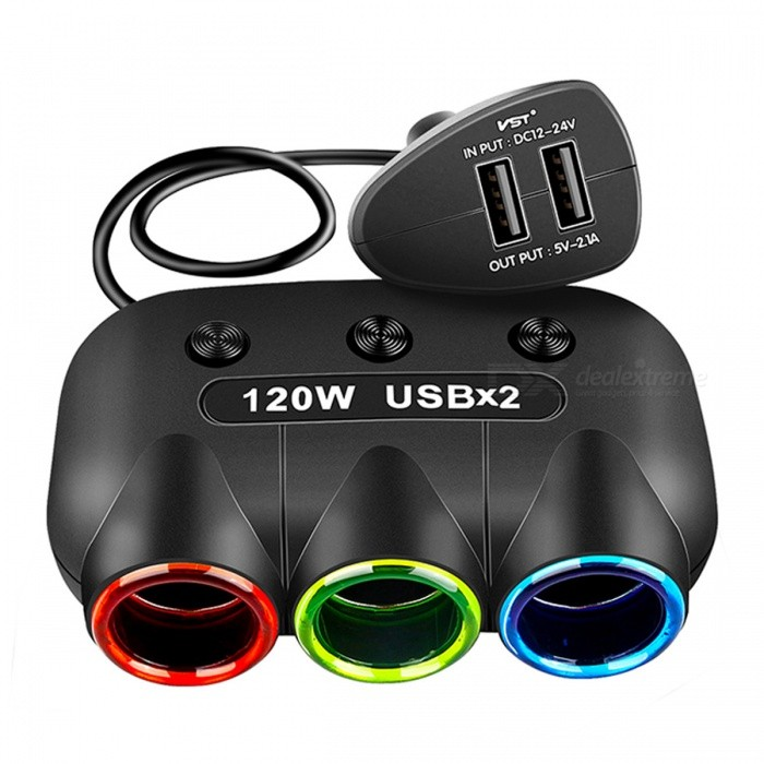 Buy 5V/2.1A 120W Dual USB Car Cigarette Lighter Charger - Black with Litecoins with Free Shipping on Gipsybee.com
