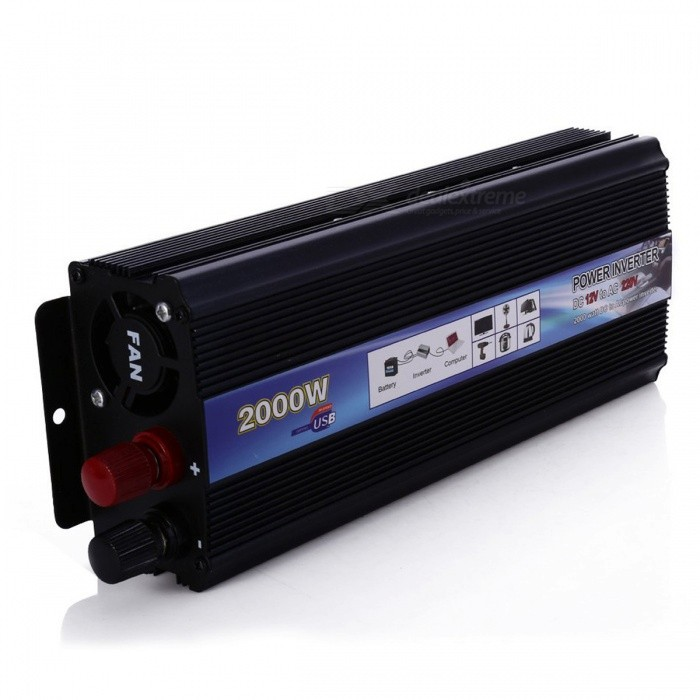 Professional 2000W DC 12V to AC 220V Car Power Inverter - BlackCar Power Inverters<br>Form  ColorBlackModel-Quantity1 DX.PCM.Model.AttributeModel.UnitMaterialN/AInput VoltageOthers,10-15 DX.PCM.Model.AttributeModel.UnitSocket Output Voltage220 DX.PCM.Model.AttributeModel.UnitSocket Output Current10 DX.PCM.Model.AttributeModel.UnitUSB Output Voltage5 DX.PCM.Model.AttributeModel.UnitOutput Current1 DX.PCM.Model.AttributeModel.UnitContinuous Output Power800 DX.PCM.Model.AttributeModel.UnitPeak Output Power1600 DX.PCM.Model.AttributeModel.UnitWaveform TypeModified Sine WaveUSBUSB 2.0Output SocketUniversal plugConversion Efficiency&gt;95%Output Frequency1000-1200wOver Voltage ProtectionYesLow-voltage Protection10.08VOvertemperature Protection60 deg.c plus / minus 5 percent / 60 deg.c plus / minus 10 percentIndicator LightYesPower CableYesApplicationOthers,N/AOperating Temperature-20-45 DX.PCM.Model.AttributeModel.UnitPacking List1 x DC to AC 2000W Car Power Inverter2 x Adapter Wires1 x Bilingual User Manual in English and Chinese<br>