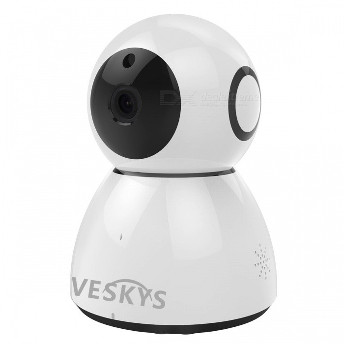 VESKYS 2.0MP 1080P HD Wi-Fi Security Surveillance IP Camera - UK PlugIP Cameras<br>Form  ColorWhitePower AdapterUK PlugMaterialABSQuantity1 DX.PCM.Model.AttributeModel.UnitImage SensorCMOSImage Sensor SizeOthers,1/4 inchPixels2.0MPLens3.6mmViewing Angle90 DX.PCM.Model.AttributeModel.UnitVideo Compressed FormatH.264Picture Resolution1920* 1080Frame Rate25Audio Compression FormatOthers,G.711AMinimum Illumination0.1 DX.PCM.Model.AttributeModel.UnitNight VisionYesIR-LED Quantity6Night Vision Distance8 DX.PCM.Model.AttributeModel.UnitWireless / WiFi802.11 b / g / nNetwork ProtocolTCP,IP,UDP,HTTP,SMTP,uPnP,PPPoE,TFTPSupported SystemsOthers,NOSupported BrowserOthers,NOSIM Card SlotNoOnline Visitor4IP ModeDynamicMobile Phone PlatformAndroid,iOSPTZ memoryChargeFree DDNSYesIR-CUTYesBuilt-in Memory / RAMNoLocal MemoryYesMemory CardTF cardMax. Memory Supported64GBMotorYesRotation AnglePan/Tilt-Vertical: 55 Pan/Tilt-Horizontal : 355Supported LanguagesEnglish,Simplified ChineseWater-proofNoPacking List1 x Cloud Storage IP Camera1 x AC power adapter (UK plug / 110~240V )1 x Bracket 1 x Pack of installation accessories 1 x English user manual<br>