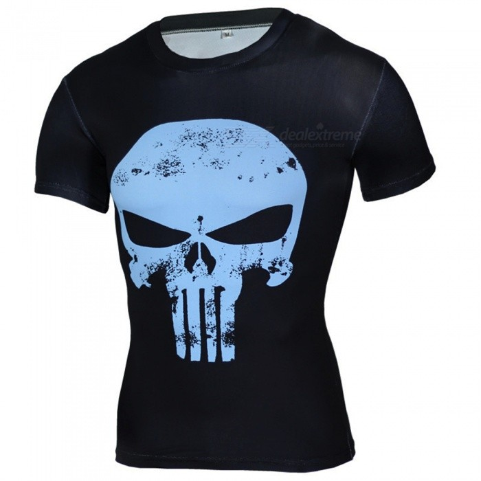 Outdoor Punisher Pattern Short Sleeve Mens T-Shirt (XXL)Form  ColorBlue + BlackSizeXXLModelA-2493Quantity1 DX.PCM.Model.AttributeModel.UnitMaterialPolyesterShade Of ColorBlueSeasonsSpring and SummerGenderMensShoulder Width45 DX.PCM.Model.AttributeModel.UnitChest Girth96-118 DX.PCM.Model.AttributeModel.UnitSleeve Length19 DX.PCM.Model.AttributeModel.UnitTotal Length66 DX.PCM.Model.AttributeModel.UnitBest UseCross-training,Yoga,Running,Climbing,Rock Climbing,Family &amp; car camping,Backpacking,Camping,Mountaineering,Travel,Cycling,Triathlon,Cross-trainingSuitable forAdultsPacking List1 x Mens T-shirt<br>