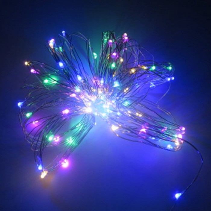 SZFC 10m 100-LED Waterproof Silver Wire LED String Light - MulticolorOther SMD Strips<br>Form  ColorSilver + White + Multi-ColoredColor BINMulti-colorModel3xAA-10M-Multi-colorMaterialCopperQuantity1 DX.PCM.Model.AttributeModel.UnitPower10WRated VoltageOthers,DC 4.5V DX.PCM.Model.AttributeModel.UnitEmitter TypeLEDTotal Emitters100WavelengthBlue 435-460nm / Green 520-540nmTheoretical Lumens1000 DX.PCM.Model.AttributeModel.UnitActual Lumens10-900 DX.PCM.Model.AttributeModel.UnitPower AdapterOthers,BatteryPacking List1 x LED String Light<br>