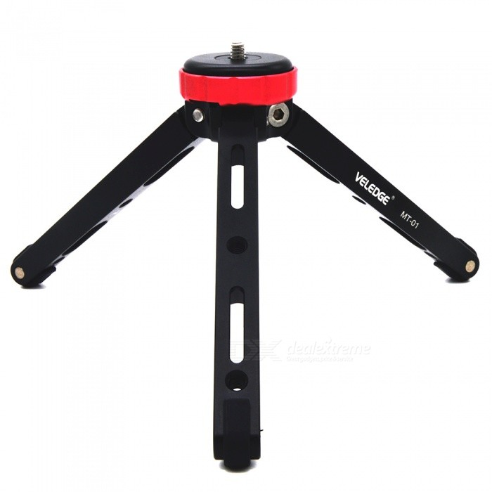 VELEDGE MT-01 Mini Portable Tabletop TripodTripods and Holders<br>Form  ColorBlack RedModelMT-01MaterialAluminum alloyQuantity1 pieceShade Of ColorBlackTypeTripodRetractableYesScrew Size1/4Min.Height3.8 cmMax.Height11.2 cmMax.Load80 kgPacking List1 x MT-01 Tripod<br>