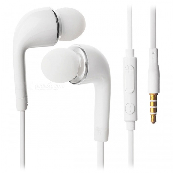 3.5mm Wired HIFI intra-auriculares com microfone - branco