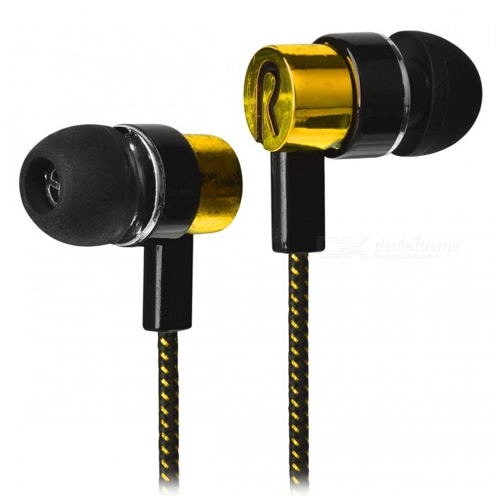 ... Stylish Woven Cable In-Ear Earphone for Cell Phone/Tablet PC - Golden ...