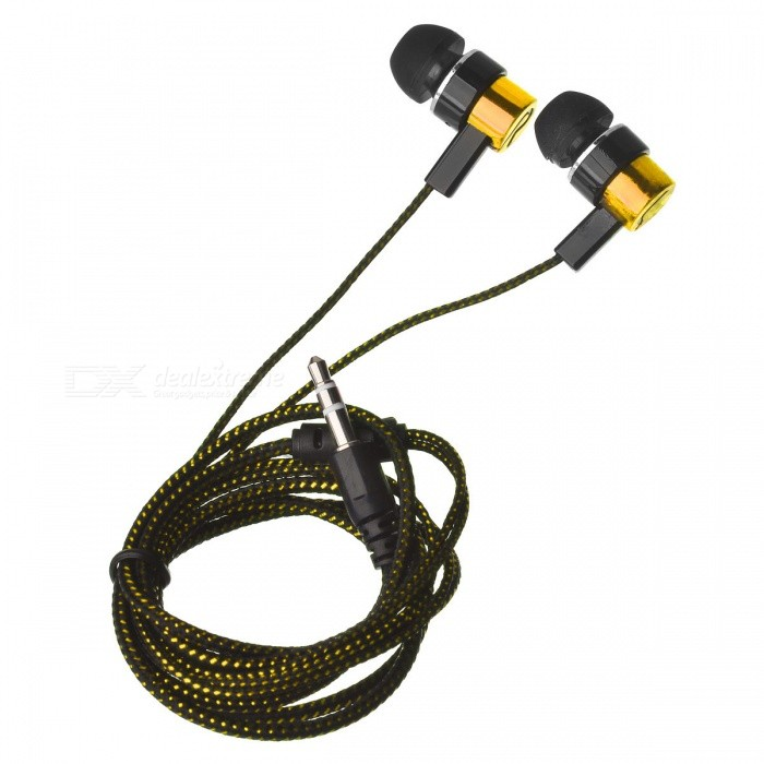 ... Stylish Woven Cable In-Ear Earphone for Cell Phone/Tablet PC - Golden