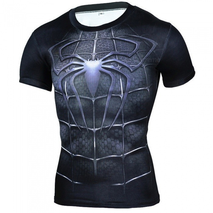 Outdoor Mens Tights Spider Man Symbol Style Short Sleeves T Shirt