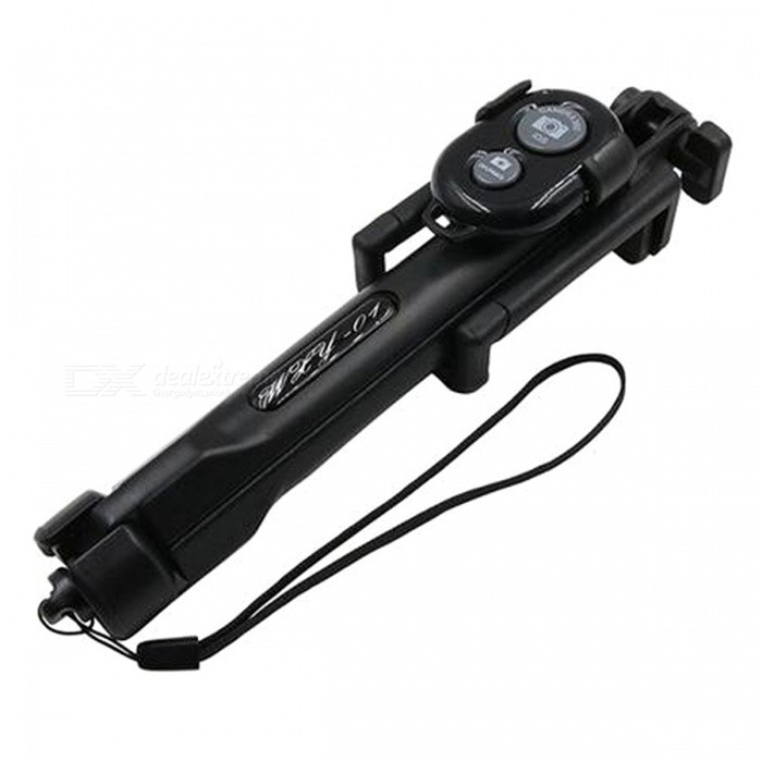 Buy Foldable Portable Bluetooth Selfie Stick Tripod - Black with Litecoins with Free Shipping on Gipsybee.com