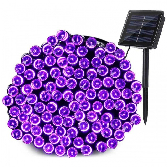 YWXLight 5V 12M 100-LED Waterproof Purple Solar String LightLED String<br>Form  ColorNavyColor BINPurpleMaterialPVCQuantity1 DX.PCM.Model.AttributeModel.UnitPower3WRated VoltageOthers,DC 5 DX.PCM.Model.AttributeModel.UnitEmitter TypeLEDTotal Emitters100Color TemperaturePurpleWavelength-Theoretical Lumens300-350 DX.PCM.Model.AttributeModel.UnitActual Lumens200-300 DX.PCM.Model.AttributeModel.UnitPower AdapterSolar PoweredPacking List1 x YWXLight LED Solar lamp string1 x Solar panel1 x Support<br>