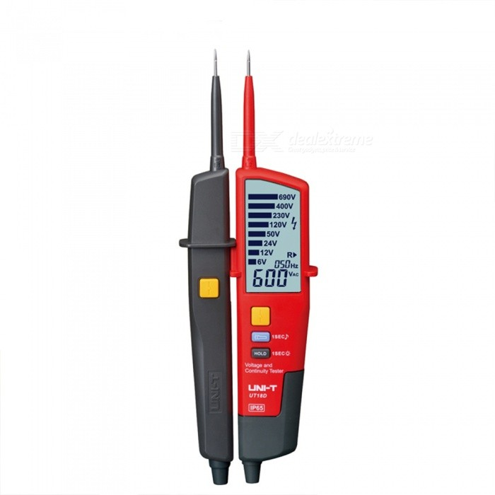 UNI-UT18D Voltage and Continuity Tester - Red, BlackOther Measuring &amp; Analysing Instruments<br>Form  ColorRed + BlackModelUT18DQuantity1 DX.PCM.Model.AttributeModel.UnitMaterialABSScreen Size73.5?35.5 DX.PCM.Model.AttributeModel.UnitPowered ByAAA BatteryBattery Number2Battery included or notYesCertificationCEPacking List1 x Tester2 x Batteries1 x Plastic box1 x Manual<br>
