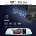 "Junsun 6.5 ""Dash Cam Full HD 3G Rearview Espejo coche DVR - Negro"