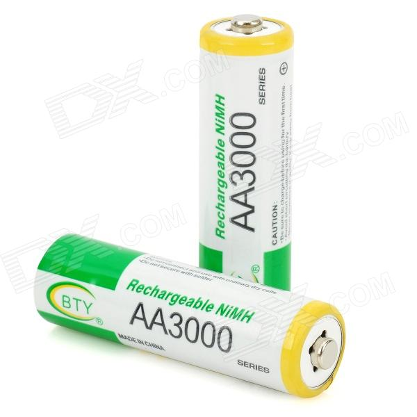 """BTY 1.2V """"3000mAh"""" Ni-MH Rechargeable AA Batteries (Pair"""