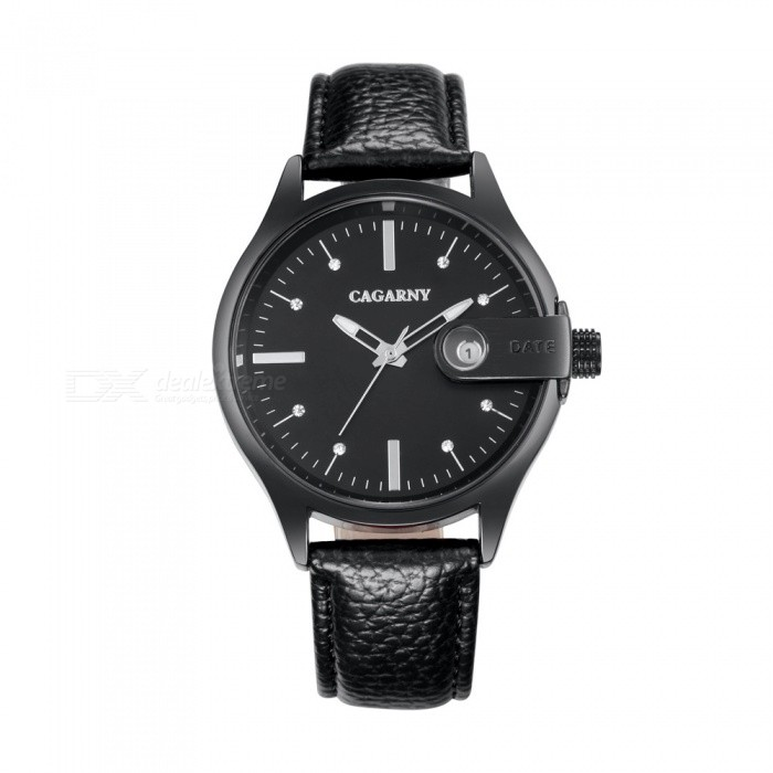 CAGARNY Casual Style Mens Quartz Watch Leather Strap - BlackQuartz Watches<br>Form  ColorBlackModel6873Quantity1 DX.PCM.Model.AttributeModel.UnitShade Of ColorBlackCasing MaterialAlloyWristband MaterialLeather strapSuitable forAdultsGenderMenStyleWrist WatchTypeFashion watchesDisplayAnalogBacklightNOMovementQuartzDisplay Format12 hour formatWater ResistantFor daily wear. Suitable for everyday use. Wearable while water is being splashed but not under any pressure.Dial Diameter4.3 DX.PCM.Model.AttributeModel.UnitDial Thickness1.3 DX.PCM.Model.AttributeModel.UnitWristband Length25.5 DX.PCM.Model.AttributeModel.UnitBand Width2 DX.PCM.Model.AttributeModel.UnitBatterySR626SW / 1PCPacking List1 x Quartz watch<br>