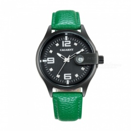 CAGARNY-Casual-Style-Mens-Quartz-Watch-Leather-Strap-Green-2b-Black