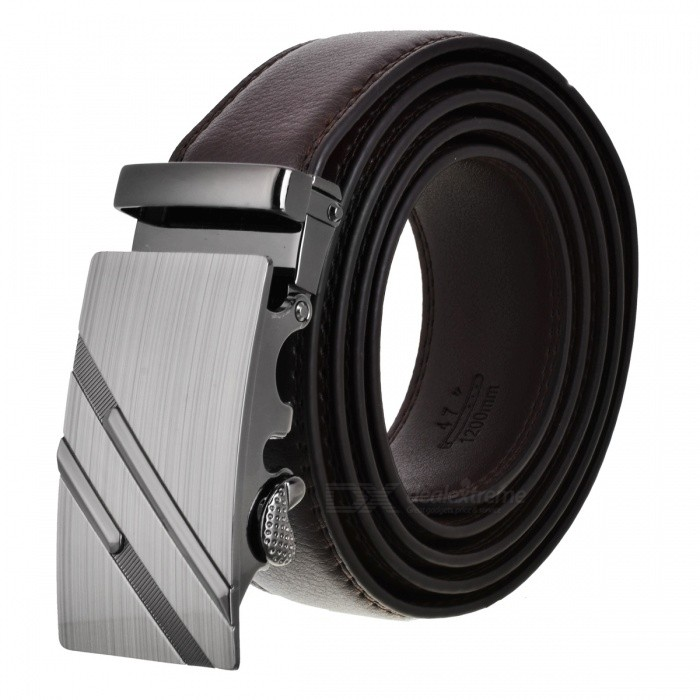 Mens-Parallel-Line-Style-Zinc-Alloy-Automatic-Buckle-Belt-Brown