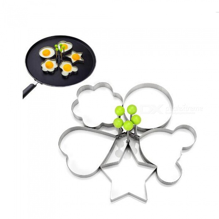 P-TOP 5Pcs/Set Stainless Steel Fried Egg Shaper Round Egg Mold- Silver