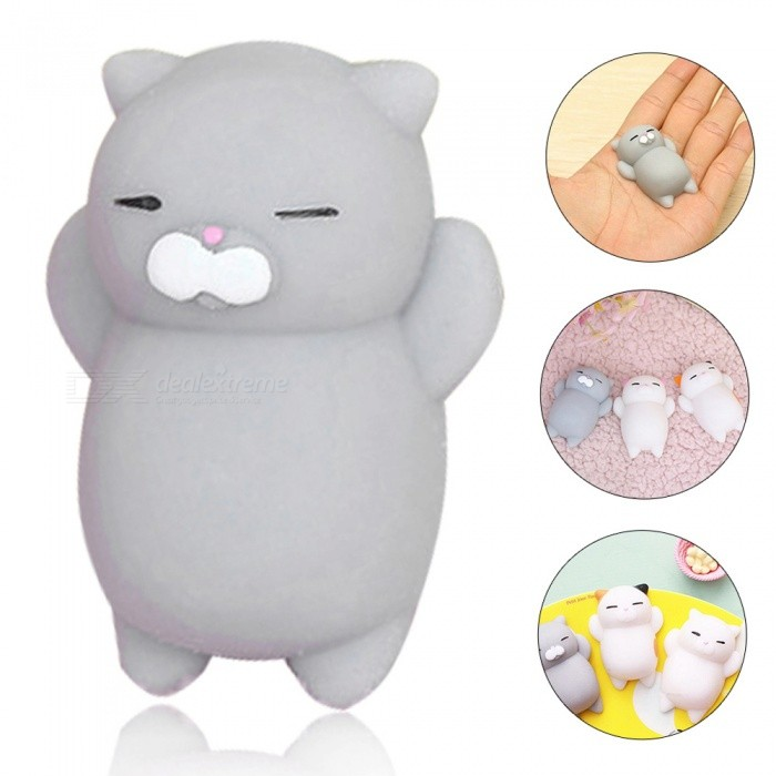 Roztomilý Cartoon Lazy spací kočka TPR Squishy Toy - šedá