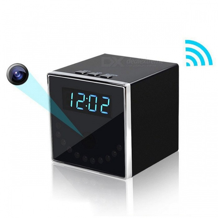 Mini HD 1080P Wireless Wi-Fi Clock Camera - Black