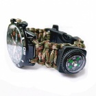 Utomhus Multifunktionell Seven-Survival Paracord Watch w / Compass