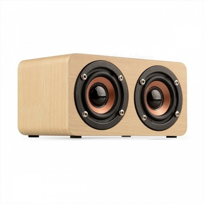 Wooden Wireless Bluetooth Speaker Portable HiFi Shock Bass - Yellow